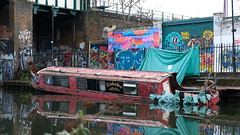 Half-sunk boat, Hackney Canals (felixkemp1) Tags: boat riverboat water river canal sunk sunken sinking graffiti reflection london eastlondon hackney fuji fujixt2 xt2