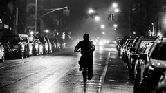 A Night of Deliveries (MarkL87) Tags: streetphotography delivery newyorkcity brooklynny bw blackandwhite person bike lights rain foggy monochrome nighttime night