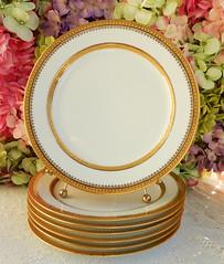 Vintage Limoges Porcelain Dinner Plates ~ White ~ Gold Encrusted (Donna's Collectables) Tags: vintage limoges porcelain dinner plates ~ white gold encrusted