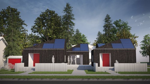 Drawing of the front of the house from Washington State, as it is planned for its final location after the Solar Decathlon 2017 in a village of tiny homes.