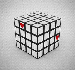 Finding Each Other (Lightcrafter Artistry) Tags: graphicdesign cube blackandwhite monochrome red hearts love conceptual rubikscube rubix