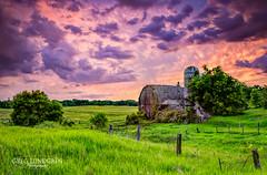 Purple and Green (Greg Lundgren Photography) Tags: sunset green minnesota clouds rural purple farm farming magenta silo oldbarns hdr chisago greglundgren