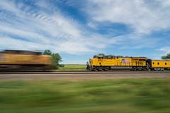 UP Meet Near Maxwell, NE (Nolan Majcher) Tags: up car electric train coach nebraska track pacific general union ne passengers maxwell locomotive passenger ge pacing triple mainline gevo 8154 es44ac