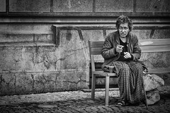 Wandering around Brasov, Romania (nicklaborde) Tags: street city travel people woman white black lady bench photography blackwhite nikon europe d streetphotography smoking romania brasov 500px nikond700 d7000 braov braovcounty