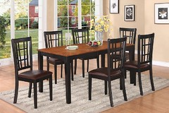 6-Piece Nicoli Rectangular Dining Table 36in X 66in and 4 Leather Chairs and bench in Black & Cherry (http://bestdiningroomsetsusa.com) Tags: black leather bench cherry table chairs dining rectangular nicoli 6piece 36in 66in