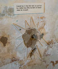 Bullet Hole in Courthouse Stairwell Wall (Serendigity) Tags: lincoln wildwest escape billythekid bullethole museum usa unitedstates wall historic town newmexico