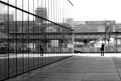 In the glass wall (pascalcolin1) Tags: paris13 bnf verre glass reflet reflection femme woman mur wall photoderue streetview urbanarte noiretblanc blackandwhite photopascalcolin