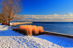 Winter serenity-Port Credit (Daniel Q Huang) Tags: winter port snow serenity landscape waterscape sun bay harbour
