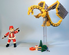 "Santa versus dragon (Deus ""Big D."" Otiosus) Tags: lego moc santa claus saint nicholas holiday festive christmas gifts dragon drake wyvern lizard monster creature zmaj dungeon adventure action"