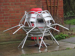 7/1/2017, 7/365,  Spider in metal IMG_1638 (tomylees) Tags: braintree essex public gardens drizzle project 365 january saturday 7th 2017 aluminium table chairs wet