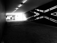 Follow the white lines (René Mollet) Tags: blackandwhite bw light lines underground unterführung kerzers monchrom monochromphotographie street streetphotography shadow silhouette station sbb art archidektur renémollet