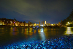 Munich - Night at the Isar (cnmark) Tags: germany deutschland bavaria bayern munich münchen isar river fluss gravel kies flowing water night nacht nachtaufnahme noche nuit notte noite gelb yellow ©allrightsreserved