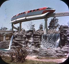 Tomorrowland Reel 2, #7b - The Monorail Glides High Over Scenic Waterfalls (Tom Simpson) Tags: viewmaster slide vintage disney disneyland 1960s vintagedisney vintagedisneyland