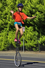 You Go Girl ! (swong95765) Tags: girl unicycle cyclist parade kid balance skilled wave smile
