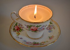 Vintage teacup candle (teatimewithemma) Tags: china cup floral vintage photography diy candle afternoon dish time tea photos antique indoor hobby bone teacup teatime