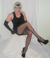 National pantyhose day? (queen.catch) Tags: femme makeup sissy tranny upskirt heels miniskirt pantyhose ladyboy shemale
