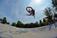 Carter With A Tabletop (Different angle) (Braden Bygrave) Tags: sunset summer sun table cool nikon bmx fisheye skatepark tabletop nohands kitchner 18140mm