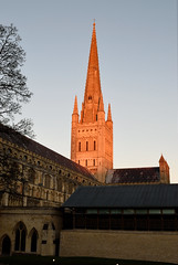 Glowing (delluisa123) Tags: nikon d3300 1855mm 2016 autumn norwich cathdral spire sunset afternoon architecture