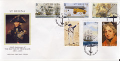 St Helena stamps - First day of issue (D70) Tags: posted may 10th 2005 official first day cover st helena stamps 200th anniversary the battle of trafalgar 1805 10p hms bellerophon center action against aigle monarca 20p british 18 pdr naval pattern cannon 30p victory 50p lieutenant rn 60p conquerer 80p ellr nmm london erll jamestown sainthelena sthelena ascension tristandacunha issue