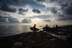 Surfer in Bali (pictcorrect) Tags: bali island echo beach canggu surfers surfing sunset wide angle