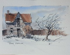 Winter farm sketch with two colors (Peter Sheeler) Tags: penandink painting simple wash easy draw tutorial howto help tips tricks beginner watercolour watercolor penandwash lineandwash drawing peter sheeler fun quick sketch sheelerart englishsubtitles shadows urbansketch waterbrush lamy higgins pigma twsbi winter farm farmhouse snow
