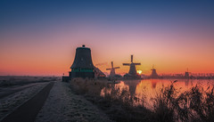 Winter morning, Zaanse schans (urbanexpl0rer) Tags: winter nederland thenetherlands netherlands zaanseschans molens mills mill windmill water waterreflections sunrise morning nopeople fullframe a7rii road