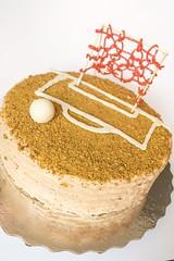 """It looks homemade..."" (Renée S. Suen) Tags: fromrenéeskitchen bakedgoods sweet dessert gettogethers cake banana dulcedeleche buttercream pistachio strawberry candy chocolate whitechocolate soccer"