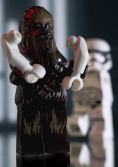 And they still won't let the wookie win? (version 2) (tomtommilton) Tags: lego toy toyphotography macro diorama starwars theforceawakens chewbacca wookie stormtrooper arms funny