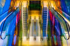 escalators (ToDoe) Tags: rolltreppen escalator escalators treppenhaus staircase movingstaircase movingstairway stairs vogelperspektive coloured colored enhancedcolours rotterdam markthalle blaak rotterdamblaak markthal symmetry symmetrie colourartaward