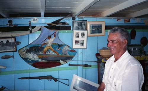 Athneal Olliveierre standing in his museum in Bequia.