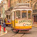 Trams near Praça da Figueira in Lisbon, Portugal