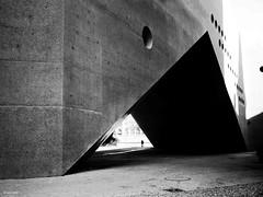Triangel II (René Mollet) Tags: zürich zuiko landesmuseum monchrom monochromphotographie blackandwhite bw triangle archidektur street streetphotography shadow silhouette renémollet penf cold