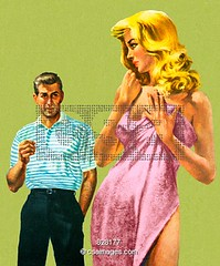 828177 (Savage Monsters) Tags: woman man color sexy beautiful vintage pretty adult leer watch towel popart blonde attract seductive twopeople tempt greenbackground printstock