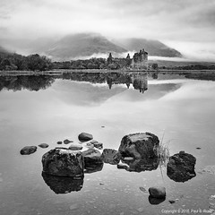 Loch Awe Reflections (roseysnapper) Tags: bw kilchurncastle lochawe nikkor2470f28 nikond810 blackandwhite circularpolarizer scotland beauty calm castle cloud fortification landscape mist monochrome mountain outdoor reflection ruin serene tranquil water