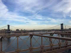 Manhattan Bridge from Brooklyn Bridge (Bitmapped) Tags: brookylnbridge newyork newyorkcounty usa
