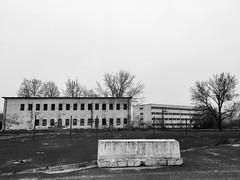 Ghost town (The_BigBadWolf) Tags: urban blackandwhite monochrome exploration base soviet hungary building iphone