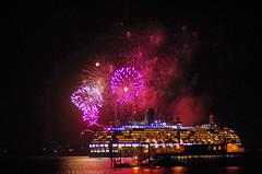 Arcadia and Fireworks 2 (David Blandford photography) Tags: hythe pier fireworks southamptonwater southamptondocks hampshire arcadia cruise liner