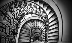 Staircase (CoolMcFlash) Tags: stairs staircase bw blackandwhite blackwhite symmetry architecture pattern vienna canon eos 60d stufen treppen treppenhaus sw schwarzweis symmetrie symmetrisch architektur muster wien fotografie photography sigma 10mm fisheye stiegenhaus spiral spirale geometry geometrie