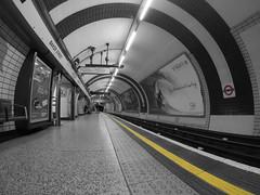 Safety line (AndreeaBertoni) Tags: underground tube london black white baker street england urban city