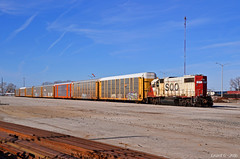 """SOO GP38-2 No. 4413 in Kansas City, MO (""""Righteous"""" Grant G.) Tags: soo line canadian pacific cp kcs kansas city southern lines railroad railway locomotive emd power joint agency yard job local freight missouri east eastbound west westbound ramp pig"""