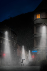On the way home (Jacob Surland) Tags: lamp france frenchalps art fineartphotography street city cityscape light country citybynight lamppost caughtinpixels rainystreet rainy wetstreet jacobsurland rain fineart coldetelegraph saintmicheldemaurienne auvergnerhônealpes fr