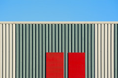Two red panels (on Explore) (Jan van der Wolf) Tags: map166210vv red rood panels panelen gebouw building composition compositie lines lijnen architecture architectuur wall muur facade gevel