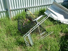 Violent End For a Shopping Trolley (mikecogh) Tags: morphettville demolition end violent bent shoppingtrolley grass backyard