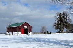 Old Barn, Flamborough - IN EXPLORE (Lois McNaught) Tags: oldbarn barn redbarn rural farm rustic landscape snow winter flamborough hamilton ontario canada oldbuilding