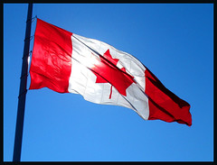 Flag Day (Light Collector) Tags: blue red sky white canada black flag backlit flagpole odt