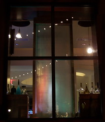 Liquid Wall [2] (AzRedHeadedBrat) Tags: window bar night reflections lights restaurant evening waterfall architechture neon wine bottles nighttime lightfixture afterdark azredheadedbrat sharleneshappart