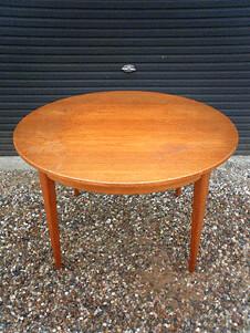Round Swedish teak dining table