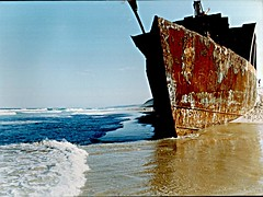 The wreck of the Cherry Venture (yewenyi) Tags: ocean abandoned beach rust waves ship australia nave shipwreck scanned qld queensland wreck aus bateau schiff corrosion navio freighter  oceania schip  rainbowbeach flickrexplore cherryventure