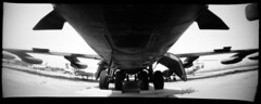 b-52 bomber. riverside, ca. 2004. (eyetwist) Tags: riverside pinhole wideangle panopin panoramic marchafb boeing museum airplane bomber coldwar agfascala scala stratofortress usaf airforce sac eyetwist bw contactforstockusage thisimagemaybeavailableforlicensecontactformoreinfo march marchairforcebase marchairreservebase arb afb inlandempire airport aircraft mechanical machine california socal mediumformat 120 pano ishootfilm emulsion film superwide wide blackwhite monochrome horsleycameraworks panpin boeingb52stratofortress b52 b52d buff analog analogue light panorama mikerignall mdf homebuilt handmade curvedfilmplane f190 110º aviation