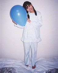 Marie Suzuki balloon love (shiroibasketshoes hopper) Tags: blue cute bunny feet smile japan loving happy big bed toes pretty legs sweet touch balloon lingerie pop barefoot singer cuddle pigtails pajamas hold gentle